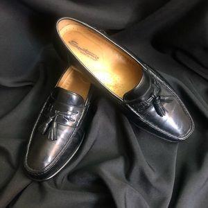 Santoni Black Tassel Loafers Made In Italy Siz 11D